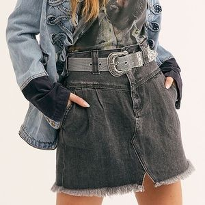 NWT Free People Sidecar Denim Mini Skirt In Black